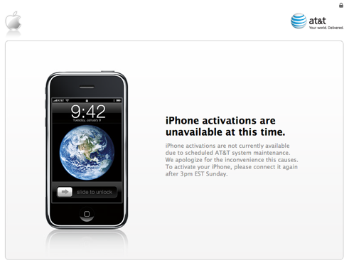 iPhone activations unavailable at this time